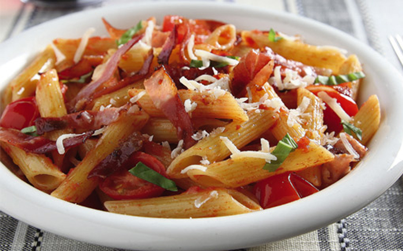 Penne with Speck and Tomatoes