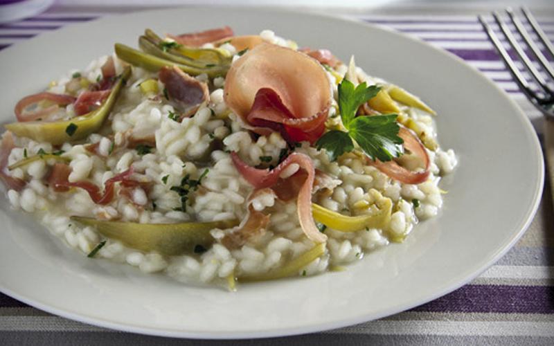 Artichoke Risotto with Prosciutto
