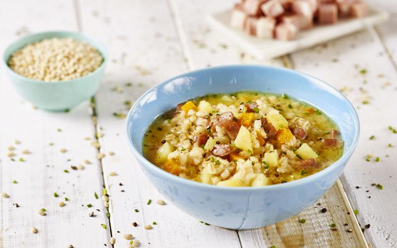 Barley Soup with Mortadella